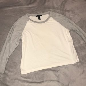 Forever 21 white and grey quarter sleeve